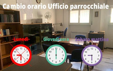 Cambio orario ufficio parrocchiale (estivo)
